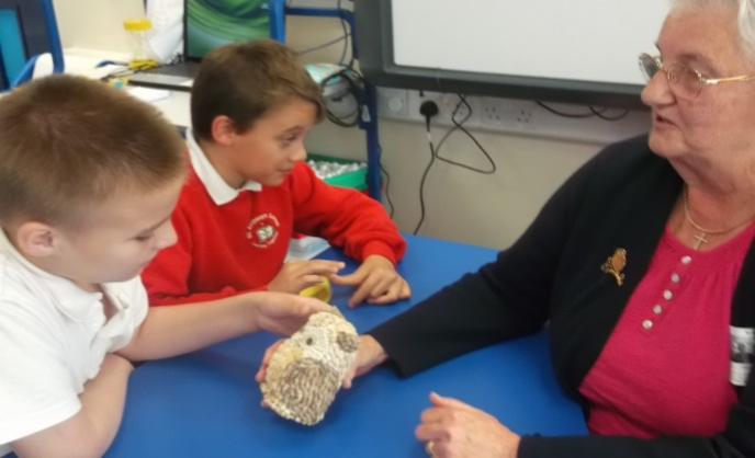 Mrs Carter Visits with Owl Collection